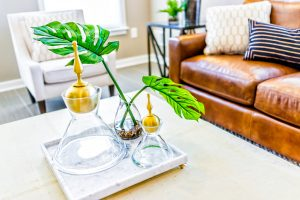 Macro closeup of serving tray stand with empty glasses and plant in staging model house or apartment by brown leather couch