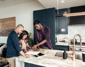 Multiracial family getting home consultation
