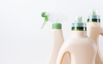 Set of blank label bottles for mockup packaging of cleaning detergent.